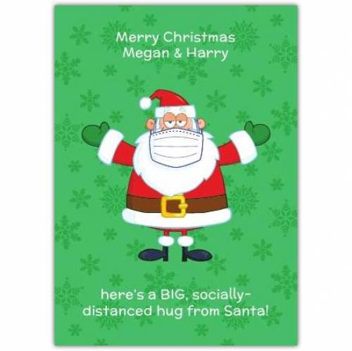 Socially Distanced Hug From Santa Christmas Card