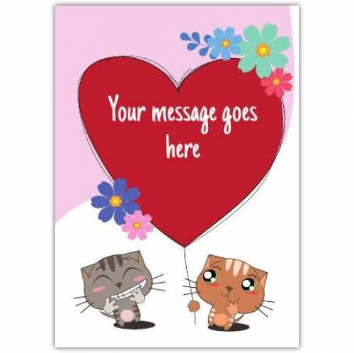 Cute Cats Floral Heart Card