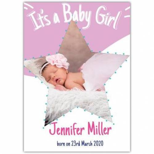 It's A Baby Girl Star Photo Name And Date Pink And White Card