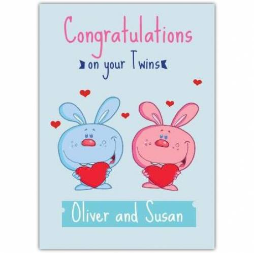 Congratulations On Your Twins Pink And Blue Rabbits And Names Card