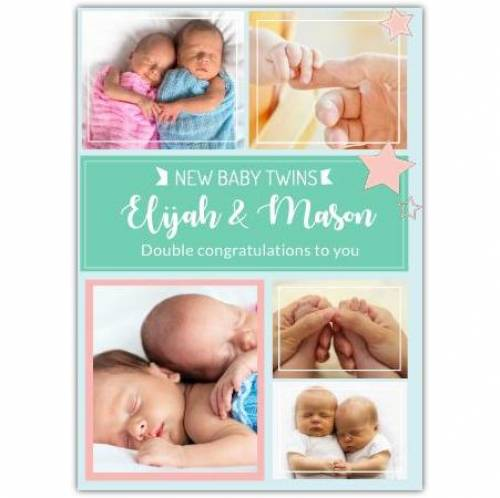 New Baby Twins Five Photos Double Congratulations Card