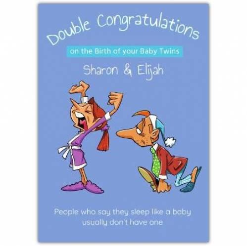Double Congratulations On Baby Twins Sleep Like A Baby Card