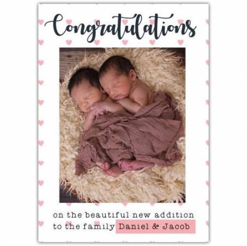 Congratulations On The Beutiful New Addition Photo White Card