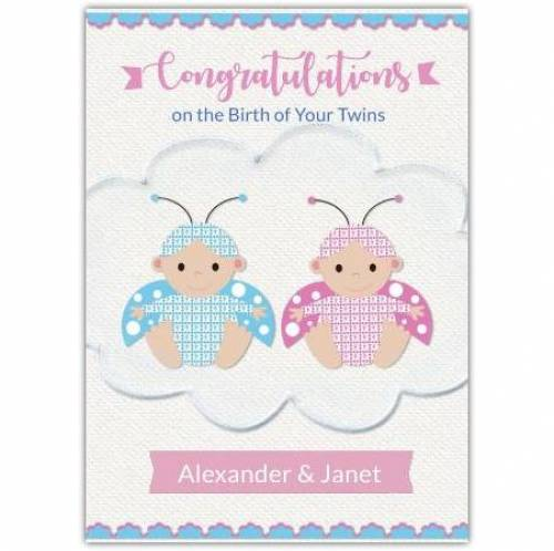 Congratulations On Twins Bees Pink And Blue Card