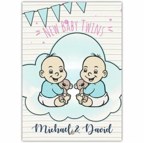New Baby Twins Bunting Card