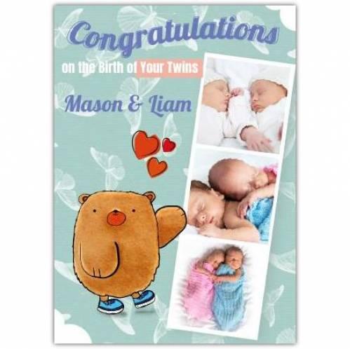 Congraulations On Twins Three Photos Bear Hearts Card