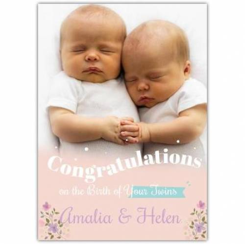Congraulations On Your Twins Flowers Card