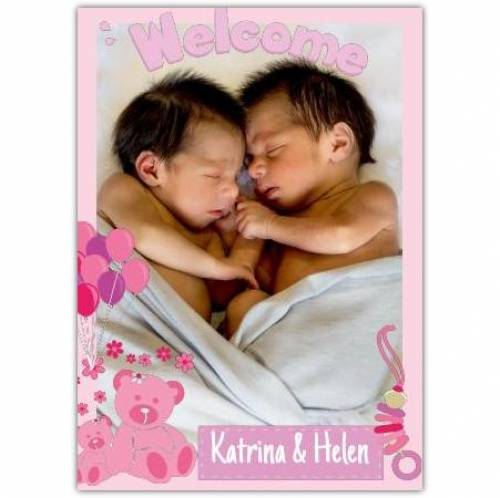 Welcoms Twins Bear And Balloons Photo Card