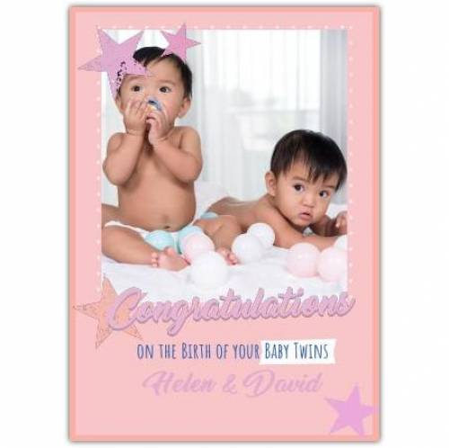 On The Birth Of Your Baby Twins Stars Photo Card