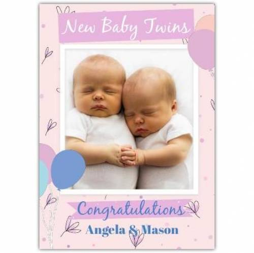 Congratulations New Baby Twins Photo Card