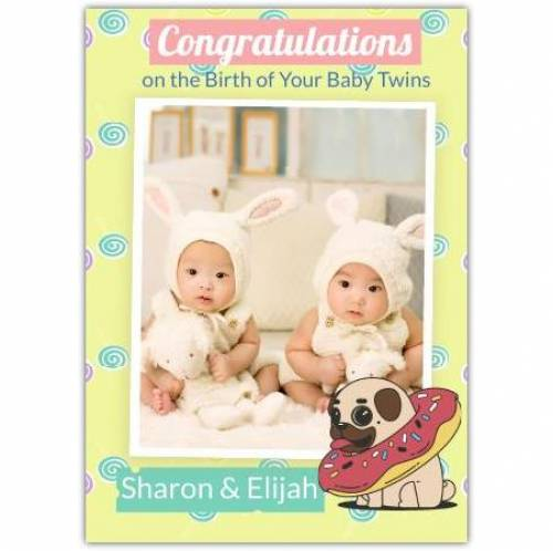 Congratulations On The Birth Of Your Baby Twins  Card