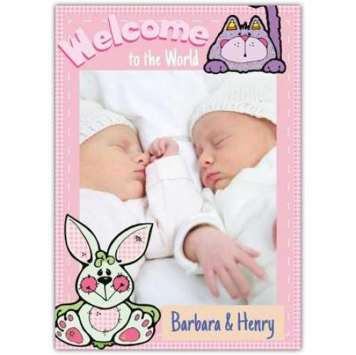 Welcome To The World Baby Twins Card