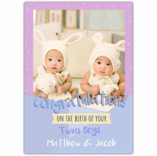 Twin Boys Or Twin Girls Congratulations  Card