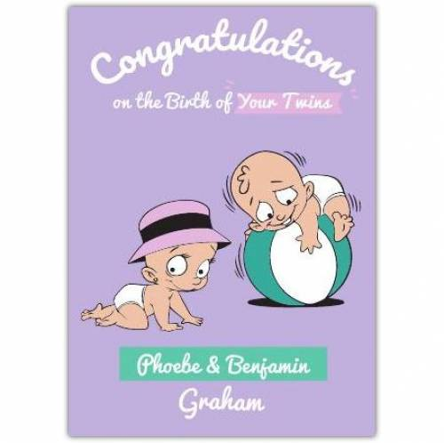 Baby Twins Congratulations Greeting Card