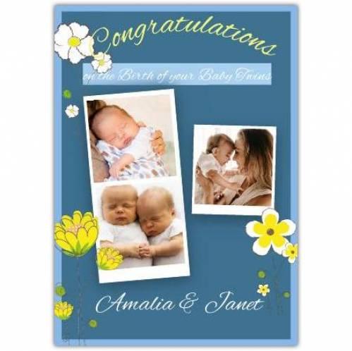 Three-photo Congratulations Floral Twins Card
